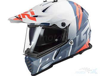 XS LS2/Casco Moto mx436/Pioneer quaterback blanco//rojo//azul