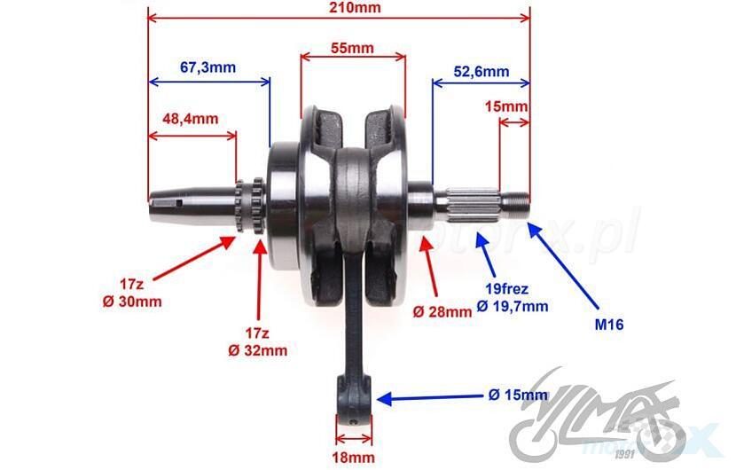 Crankshaft 15mm CB250D-G Zongshen Cross 250 - www motor-x com