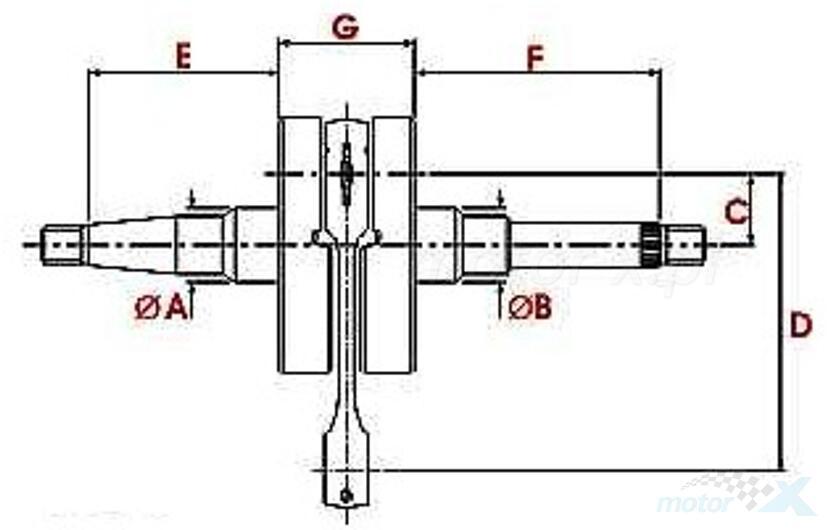 Wał korbowy 12mm Top Racing Evolution NG Aprilia / Derbi / Gilera (od 2006)