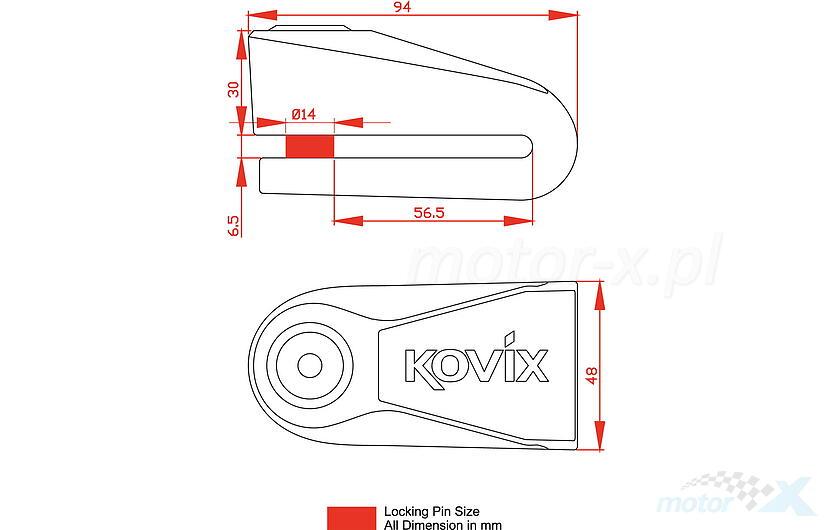 Blokada tarczy hamulcowej z alarmem KOVIX KNL15 czarno-żółta