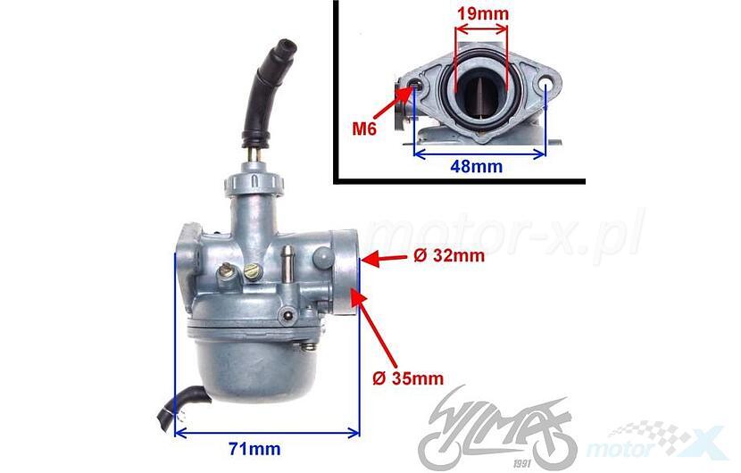 Carburetor 50cm³ manual choke 139FMB 50 4T AC - www motor-x com