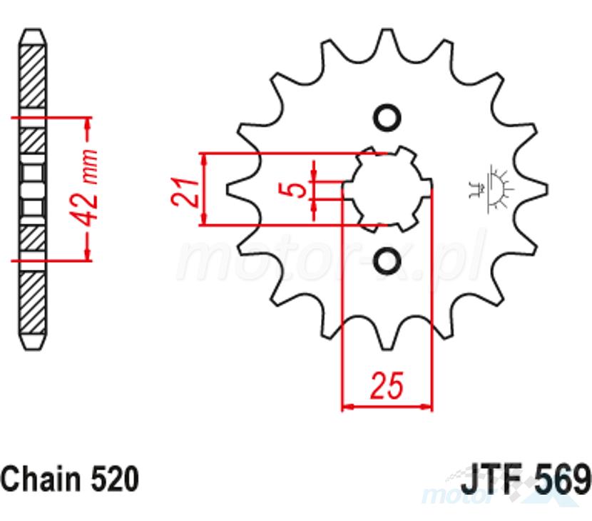 JT 1991-2004 YFA1 Breeze125 COUNTERSHAFT STEEL SPROCKET 13T JTF569.13 Yamaha