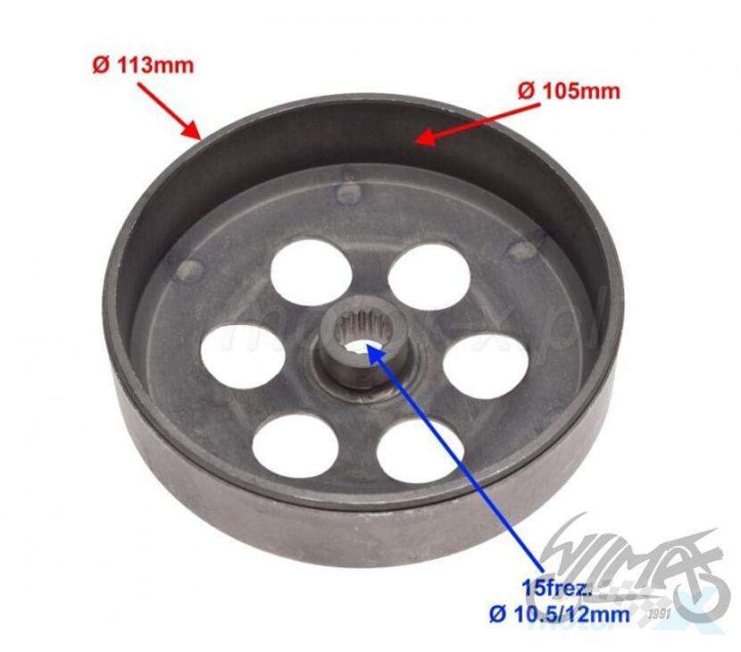 Dzwon sprzęgła tylnego 15 frezów 1PE40QMB/1E40QMA/QMB 2T