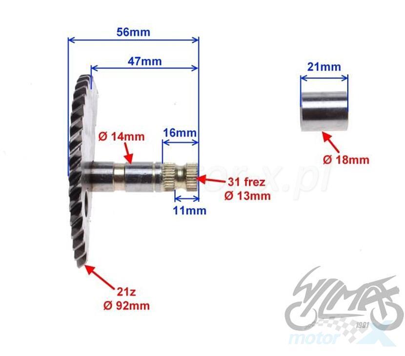 Wałek rozrusznika nożnego 56mm do koła 7 zębów 139QMB/QMA (GY6 50) 4T