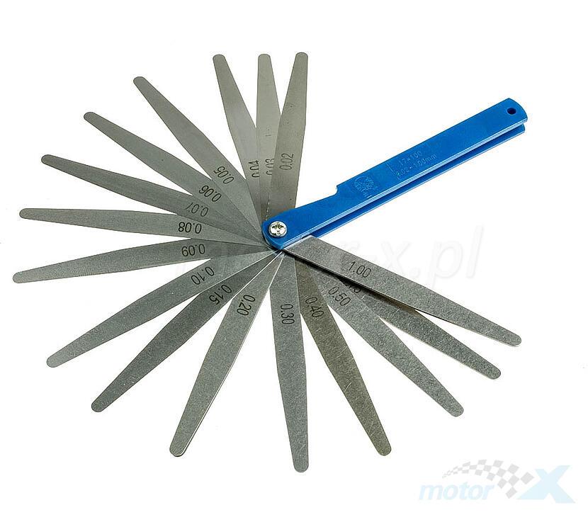 Szczelinomierz 17 elementów 0.02 do 1.00 mm