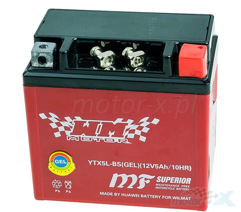 Akumulator żelowy WM Motor YTX5L-BS 113x68x105mm 12V 5Ah 70CCA