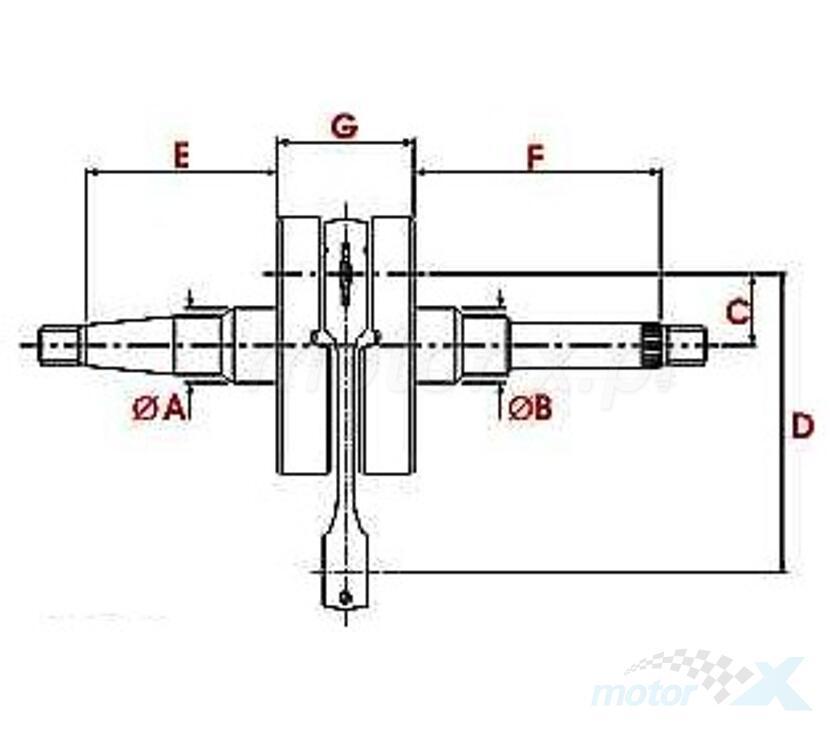 Wał korbowy 12mm Top Racing Standard Derbi GPR 50 (EBS)