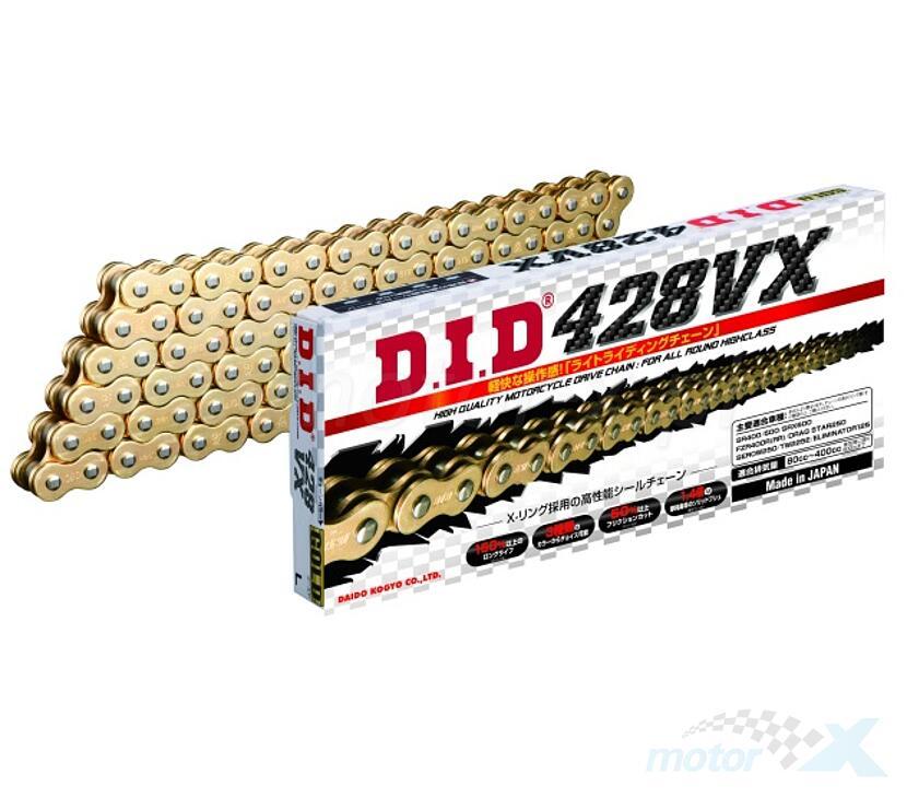 Łańcuch napędowy 428VX X-Ringowy G&B DID złoty [różna ilość ogniw]
