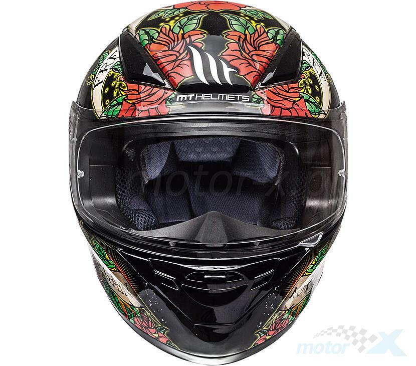 Kask integralny MT Revenge Skull & Rose Gloss Black Red 5 gwiazdek Sharp rozmiar L