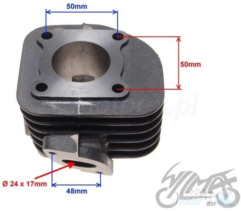 Cylinder kompletny 40.00mm 50cm³ żeliwo sworzeń 10mm 1PE40QMB 2T Minarelli AC
