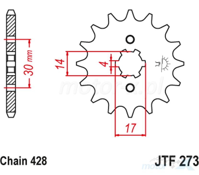 Zębatka przednia 428 13 zębów 14 / 17mm JT Sprockets JTF273.13
