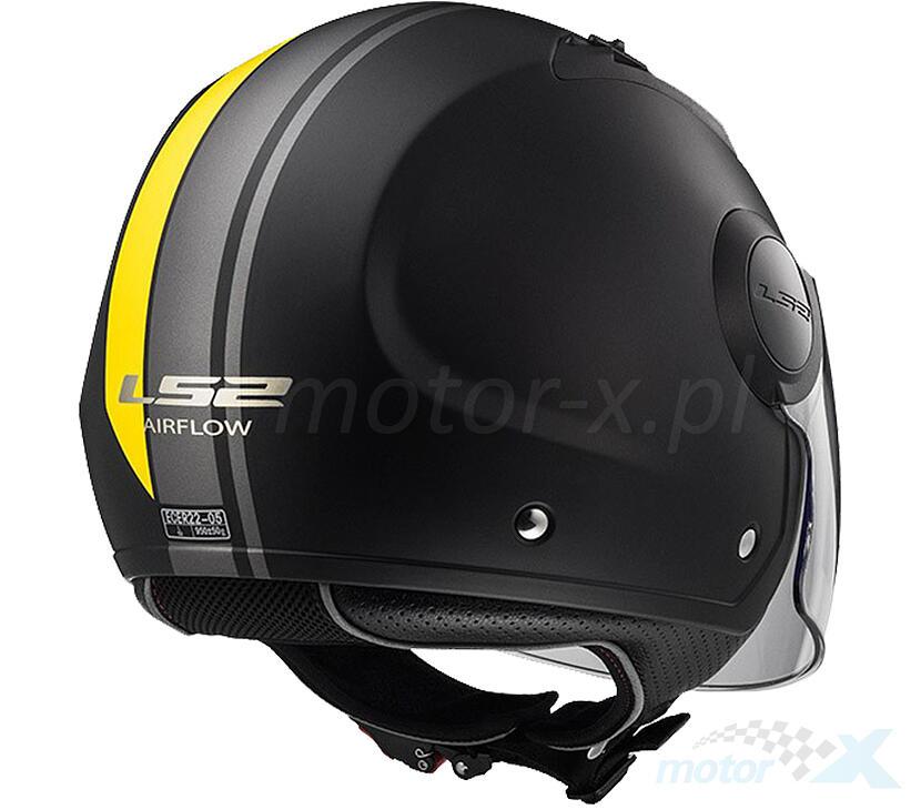 XL LS2/helmet moto of562/Airflow Metropolis Matt Black//Yellow Long