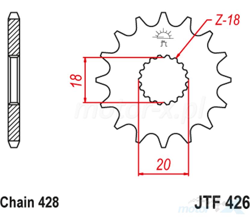 Zębatka przednia 428 15 zębów JT Sprockets JTF426