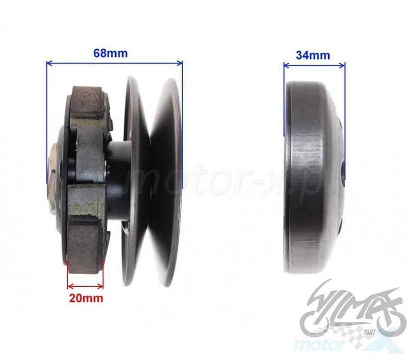 Sprzęgło tylne komplet, dzwon 107mm, wałek 12mm 22 frezy 2T/4T