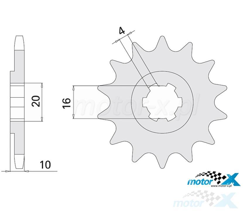 Zębatka przednia 428 14 zębów 16 / 20mm Chiaravalli K (Suzuki GN 125 / GZ 125 / VL 125)