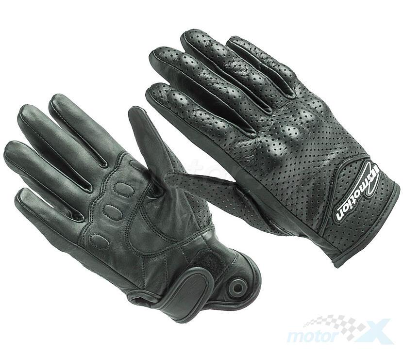 Rękawice motocyklowe IM perforowane wzmocnione czarne